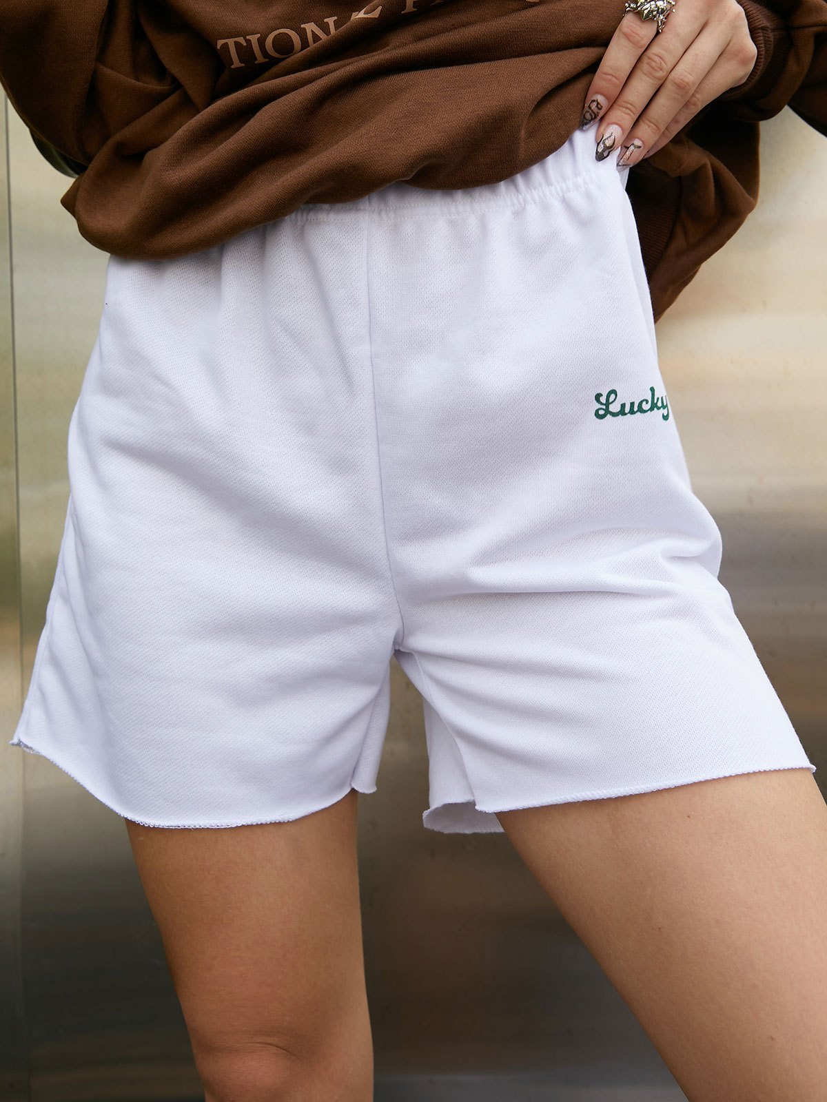 Lucky Me Sweat Shorts - White S