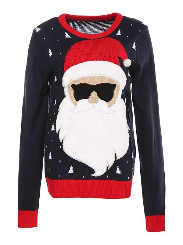 Christmas Jumper Knit Sweater - Navy Blue S