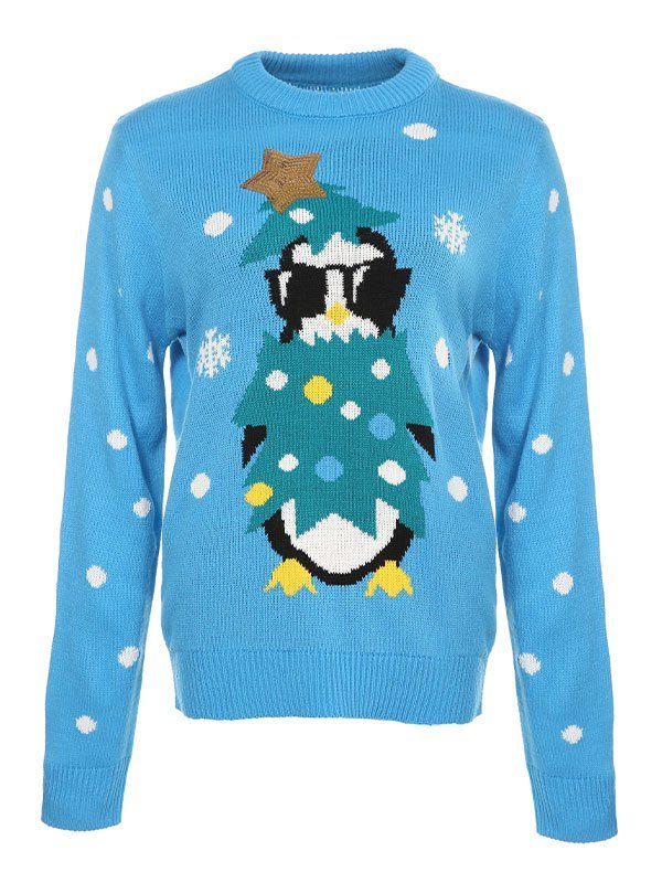 Sequin Paneled Christmas Sweater - Blue S