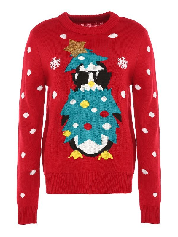 Sequin Paneled Christmas Sweater - Red L