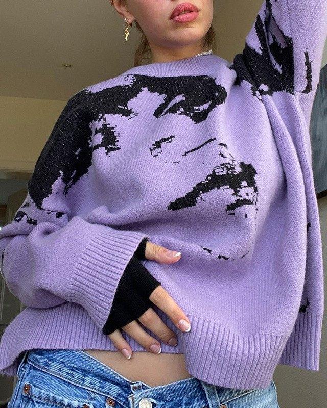 Oversized Colorblock Portrait Print Knit Sweater - Purple L