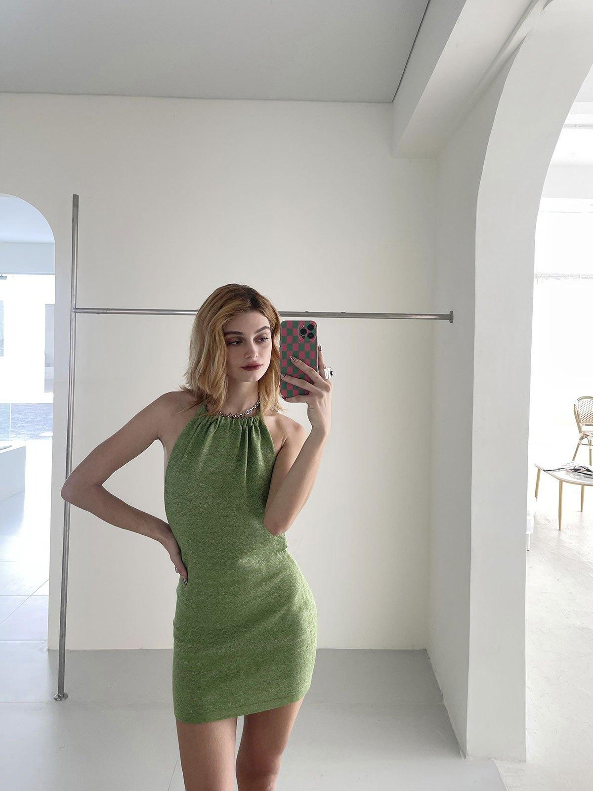 Halterneck knit Mini Dresses - Green S