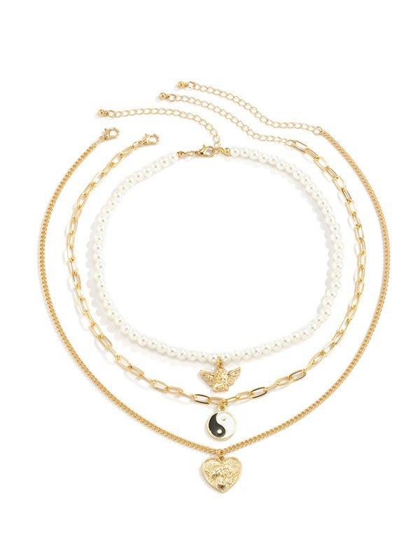 Vintage Angel Pearl Multilayer Necklace - Golden ONE SIZE