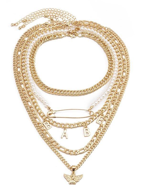Angel Brooch Multilayer Necklace - Golden ONE SIZE
