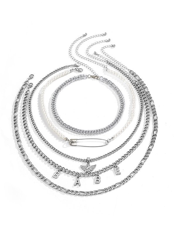 Angel Brooch Multilayer Necklace - Silver ONE SIZE