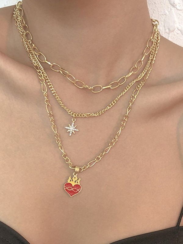 Flame Heart Necklace - Golden ONE SIZE