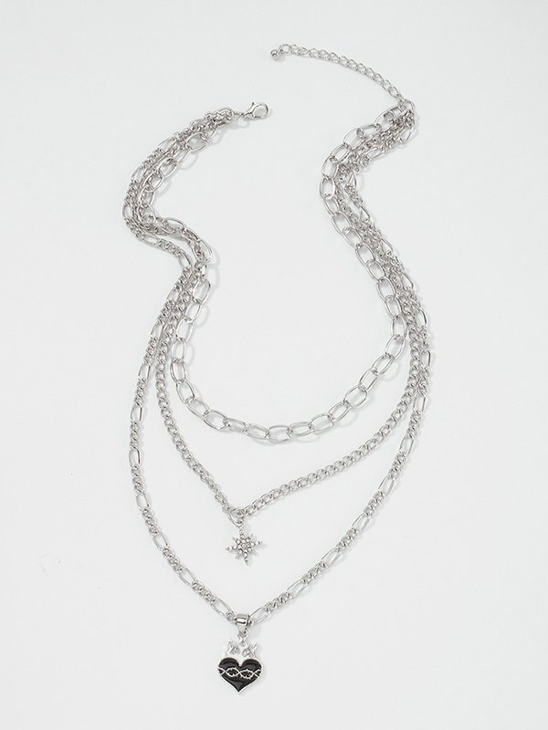 Flame Heart Necklace - Silver ONE SIZE