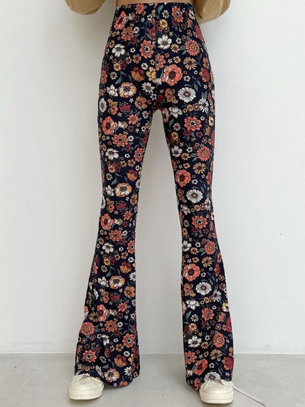Floral Print Flare Leg Pants - As The Picture L