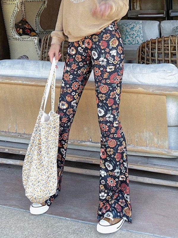 Floral Print Flare Leg Pants - As The Picture S
