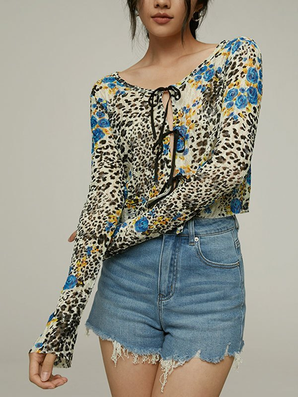 Animal Print Lace Crop Blouse - As The Picture S