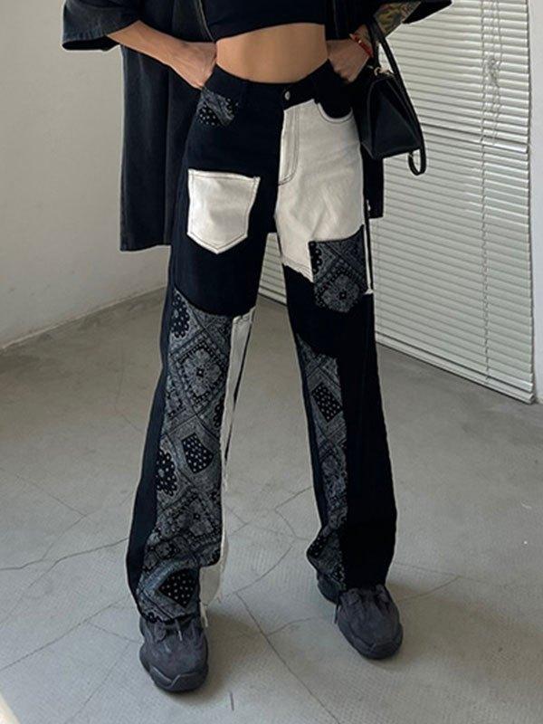 Patchwork Bandana Print Straight Leg Pants - As The Picture L