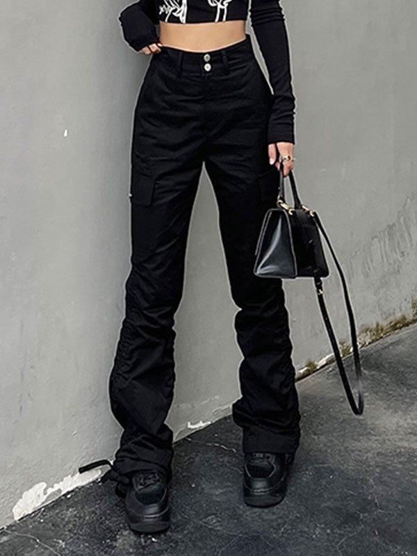 Drawstring Tie Straight Leg Pants - Black S