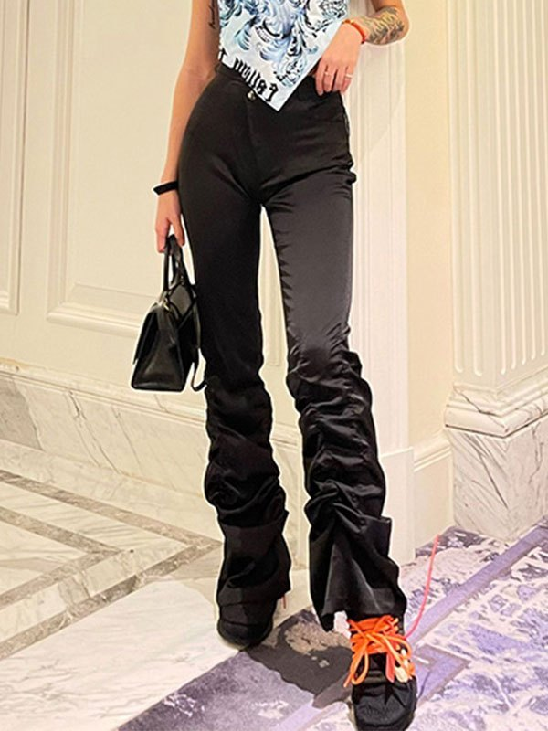 Satin Cross Over Stacked Pants - Black L