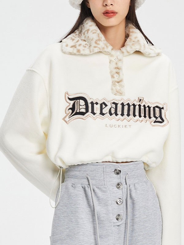 Faux Fur Collar Crop Fleece Sweatshirt - Apricot S