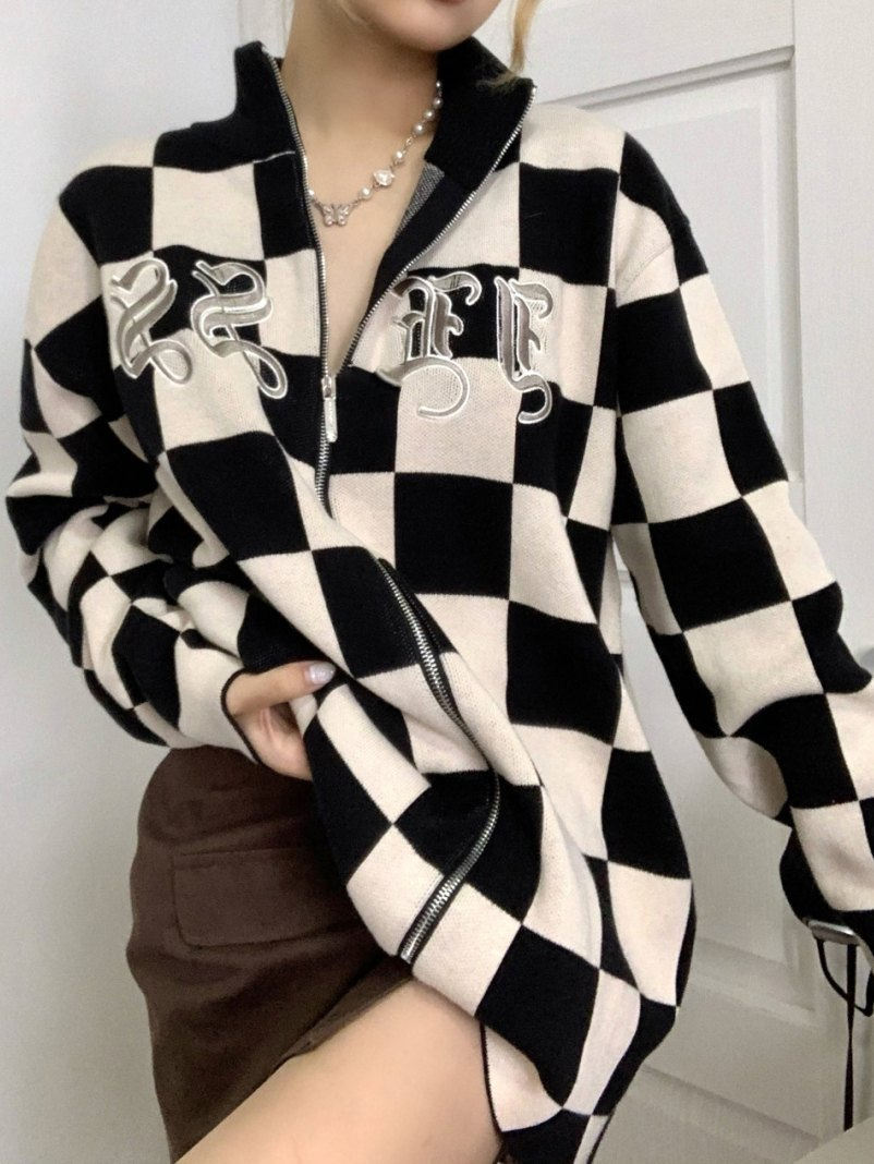 Letter Embroidery Checkered Jacket - As The Picture M