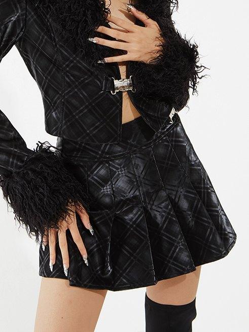 Checkered Pu Leather Pleated Mini Skirt - Black L