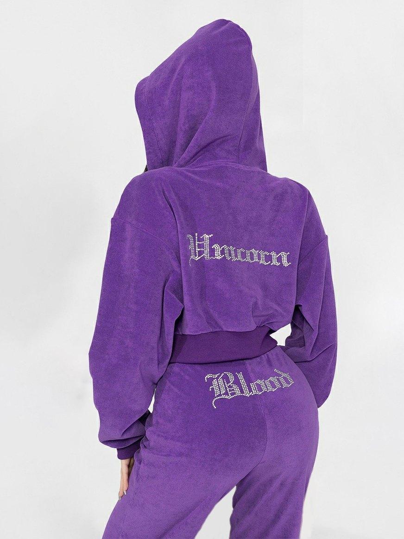 Rhinestone Toweling Tracksuit Set - Purple S