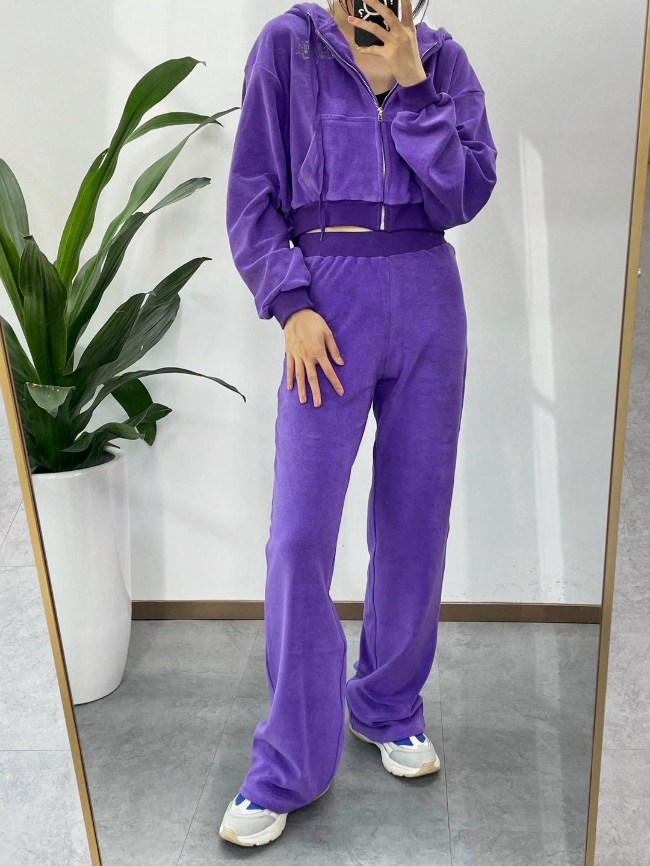 Rhinestone Toweling Tracksuit Set - Purple L