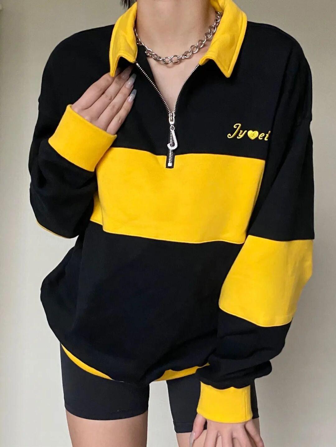 Quarter Zip Striped Sweatshirt - Black M