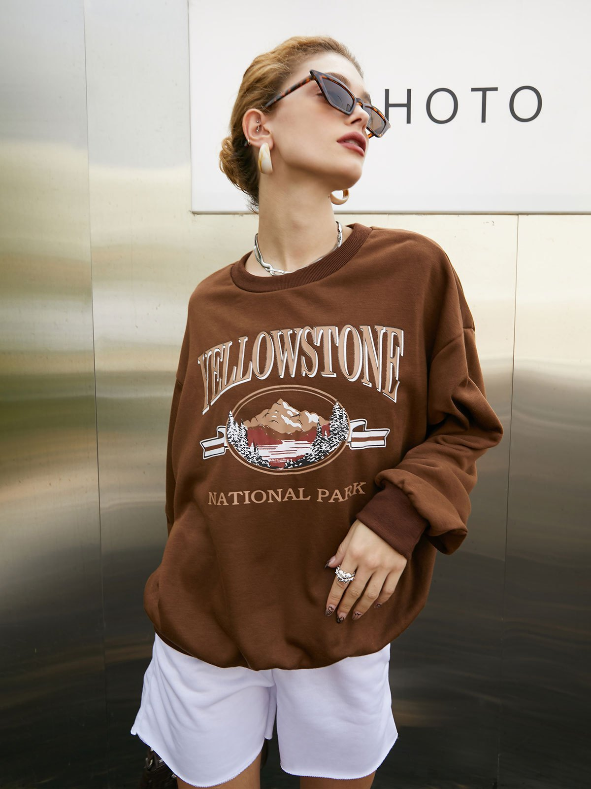 Letter Print Oversized Sweatshirt - Brown S
