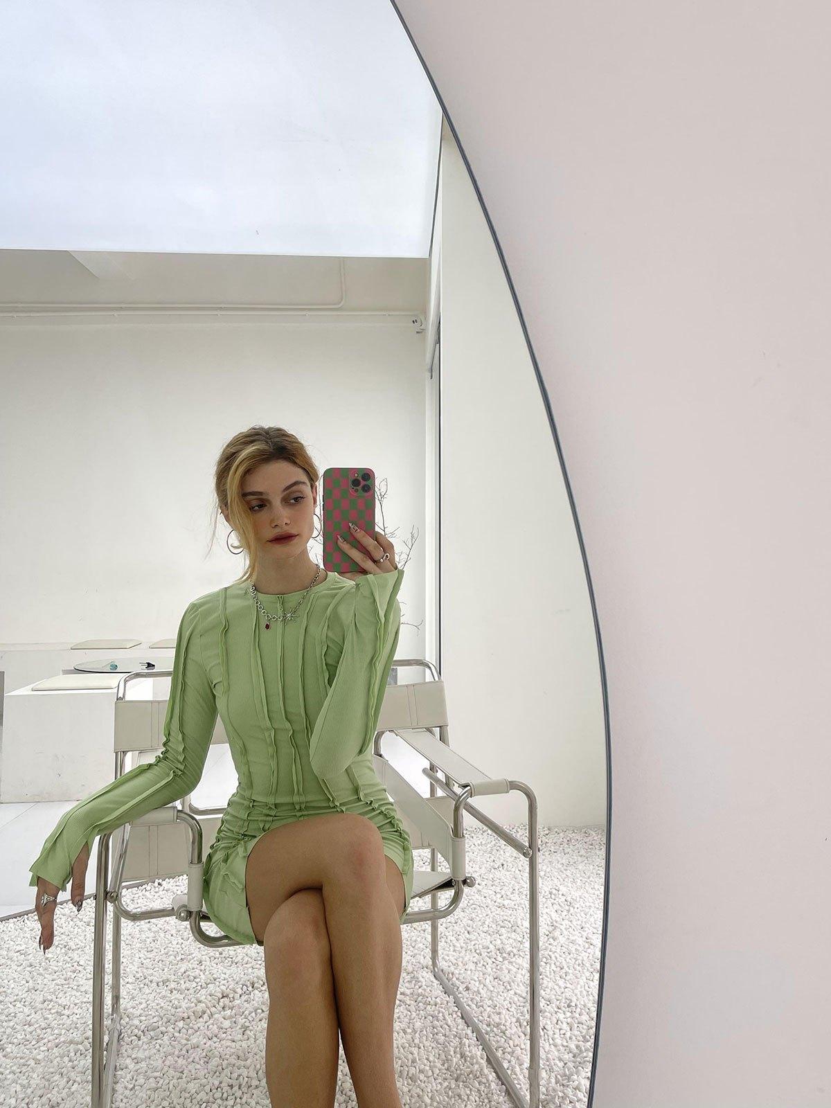 Irregular Long Sleeve Rib Mini Dress - Green S