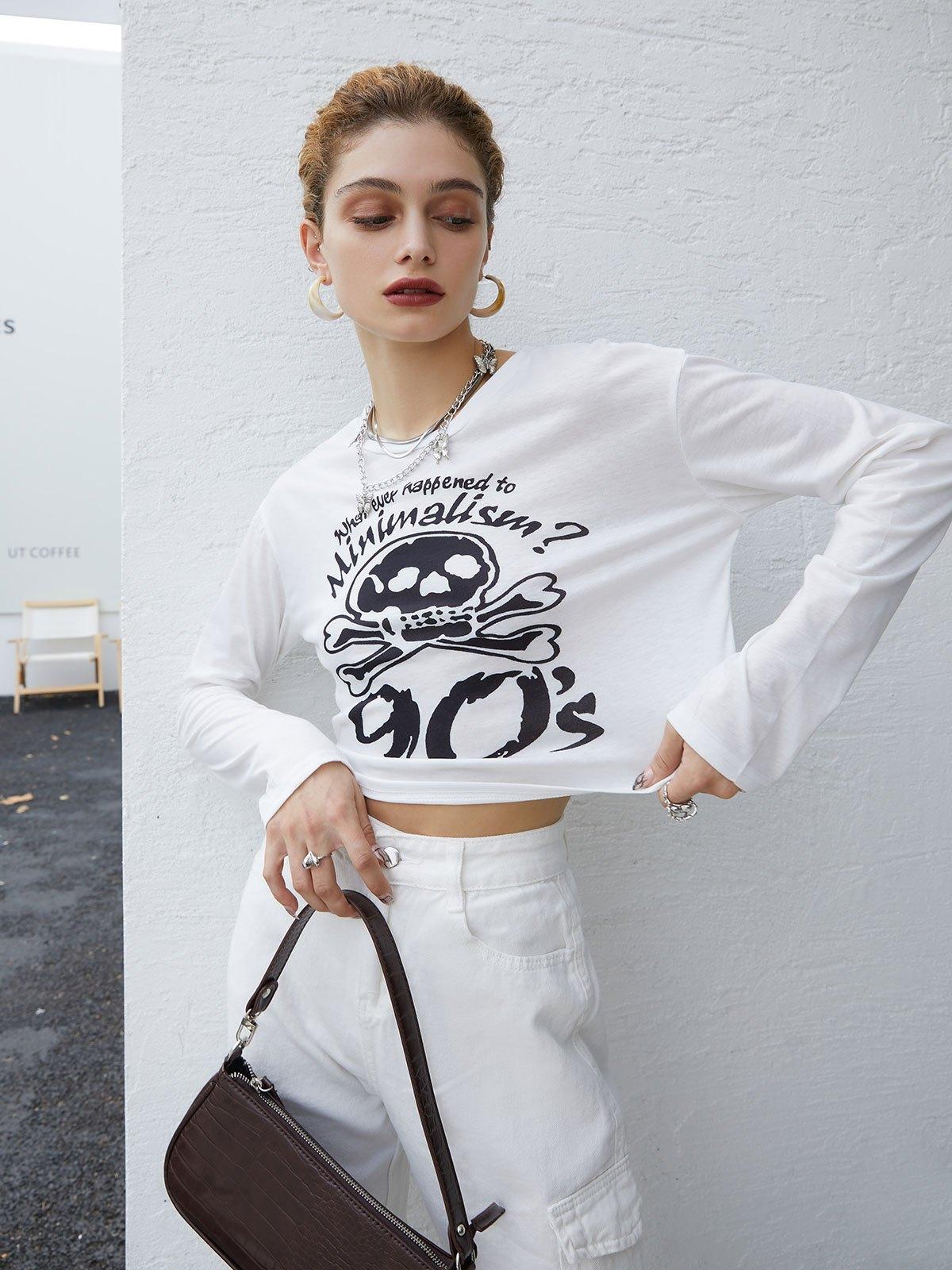 Skull Print Long Sleeve Crop Top Tee - White L