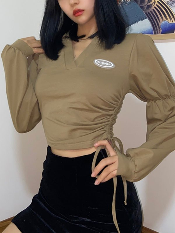V Neck Lace Up Crop Sweatshirt - Khaki M