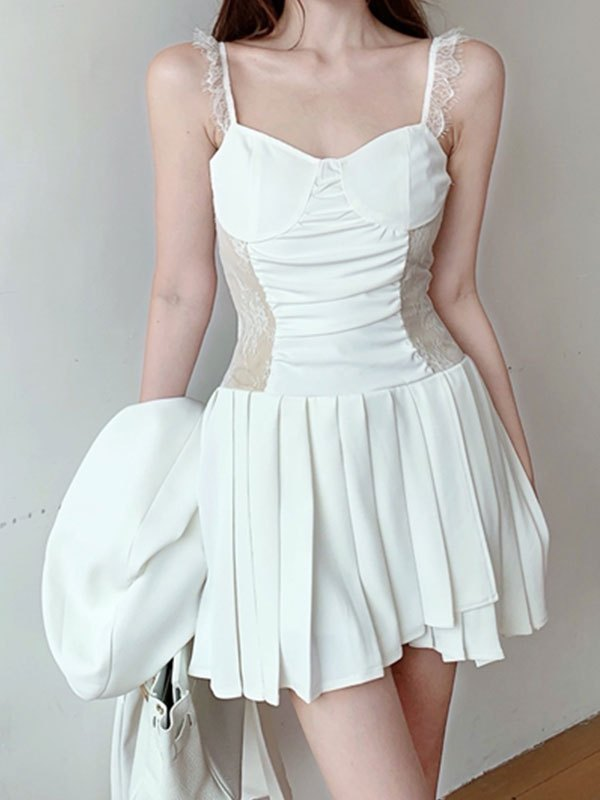 Lace Paneled Pleated Slip Mini Dress - White S