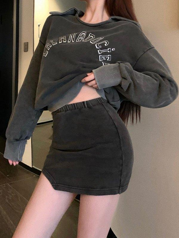 Vintage Irregular Mini Skirt - Gray S