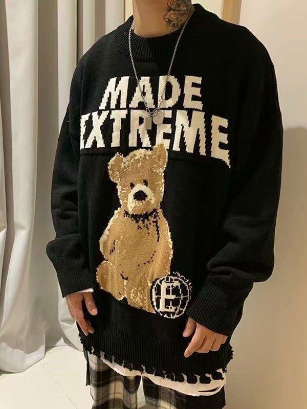 Bear Jacquard Knit Sweater - Black M