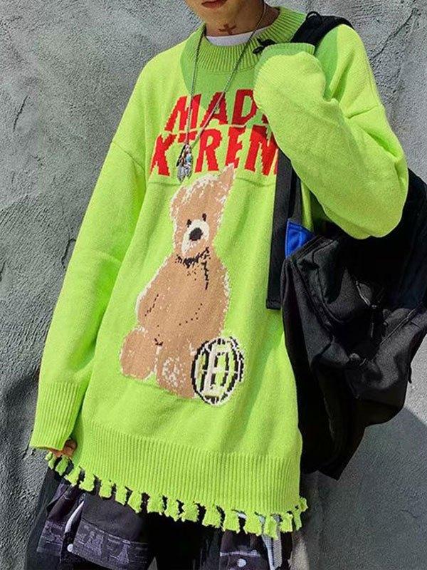 Bear Jacquard Knit Sweater - Green S