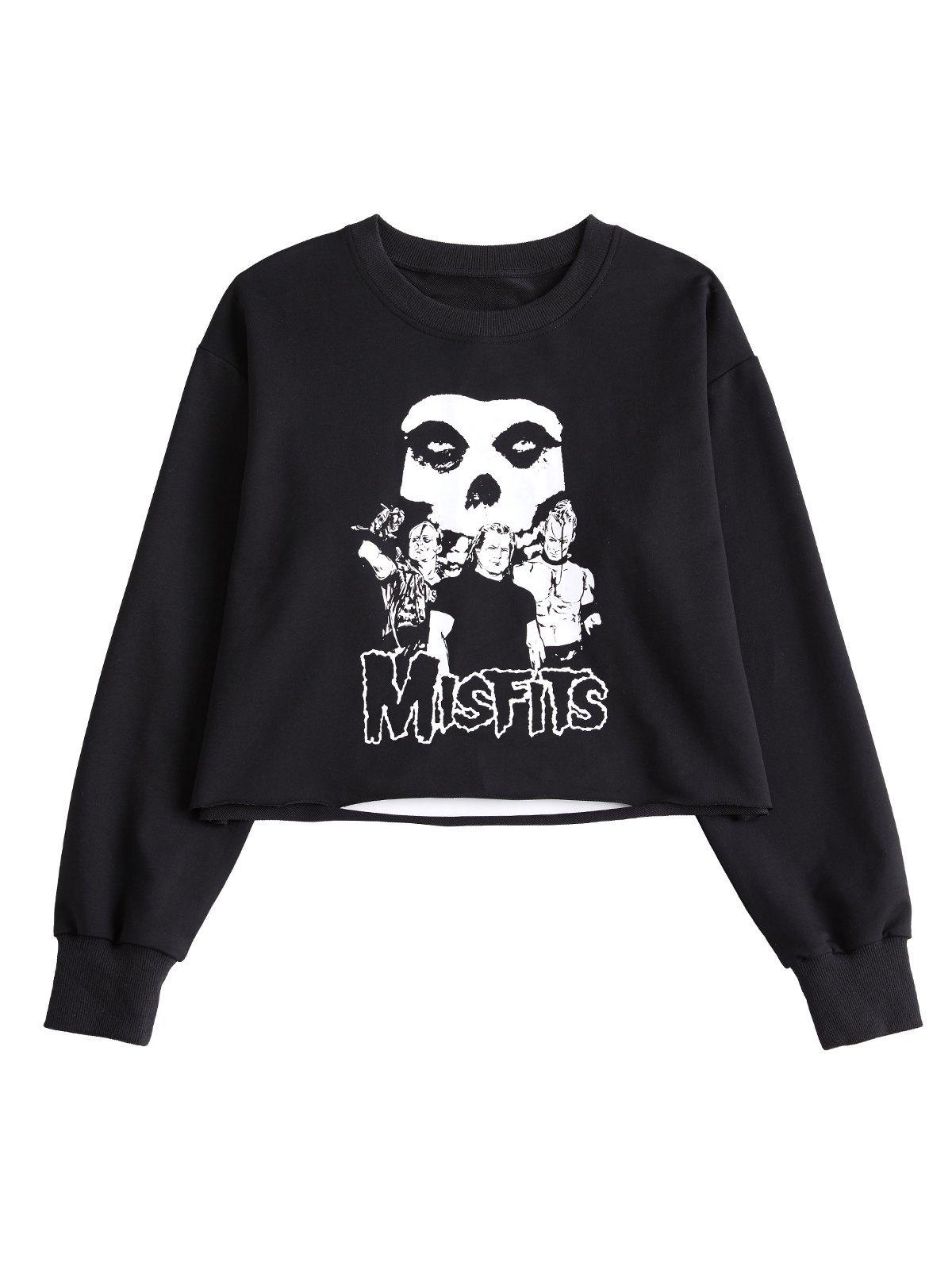 Comic Skull Print Sweatshirt - Black S