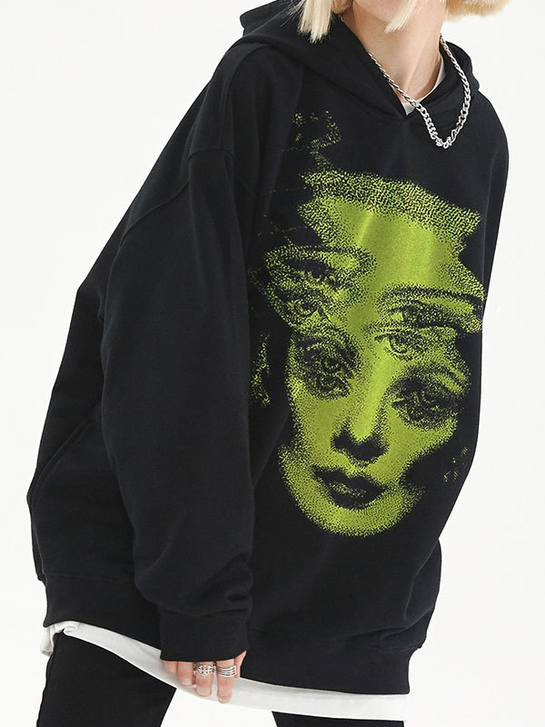 EMMIOL Oversize Face Graphic Hoodie - Black S