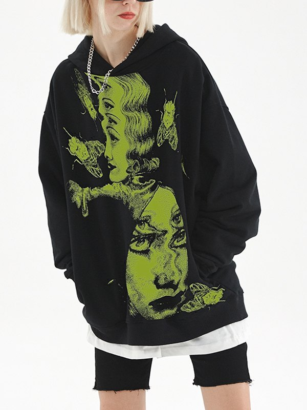 EMMIOL Abstract Face Print Oversized Hoodie - Black 2XL