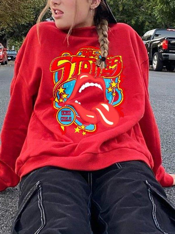 Oversized Lip Graphic Sweatshirt - Red S